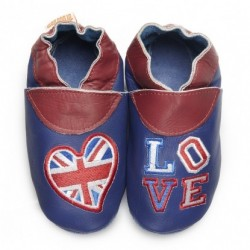 "Chaussons en cuir souple ""English Blues"""