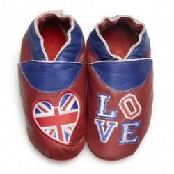 """Chaussons en cuir souple """"Love London"""""""