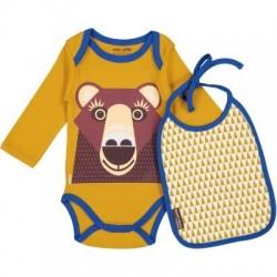 Set body et bavoir ML MIBO ours brun - coton biologique