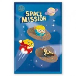 """Set van 8 uitnodigingskaartjes """"Space mission"""""""