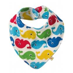 "Bavoir / foulard ""Rainbow whales"" - coton bio"