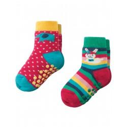 """Assortiment de 2 paires de chaussettes anti-dérapantes """"Bunny"""" - coton bio"""