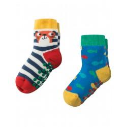 """Assortiment de 2 paires de chaussettes anti-dérapantes """"Otter"""" - coton bio"""