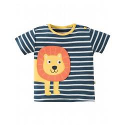 """T-shirt bébé """"Soft Navy Breton/Lion"""" - coton bio"""