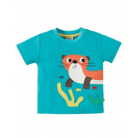 """T-shirt bébé """"Turquoise/Otter"""" - coton bio"""