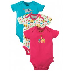 "Assortiment de 3 bodies ""Giraffe"" - coton bio"