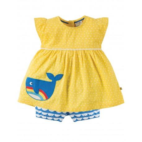 "Robe ""Sun Yellow Spot Whale"" - coton bio"