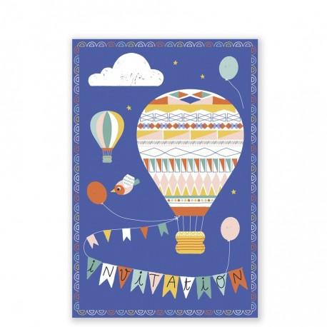 "8 cartes d'invitation ""Montgolfières"""
