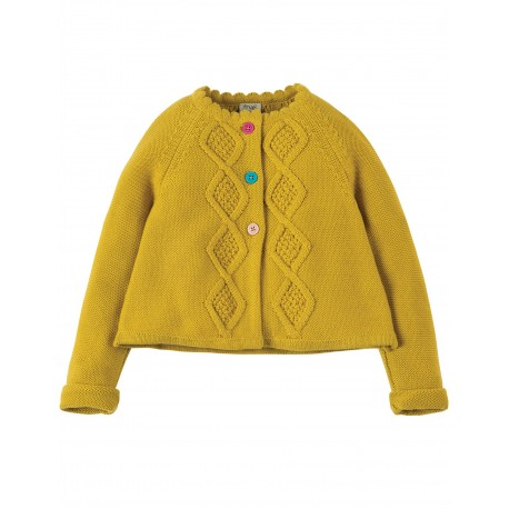 "Cardigan ""Carrie Cable Cardigan, Gorse"" - coton bio"
