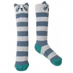 "Chaussettes ""Friendly Face Socks, Grey Marl Raccoon - coton bio"
