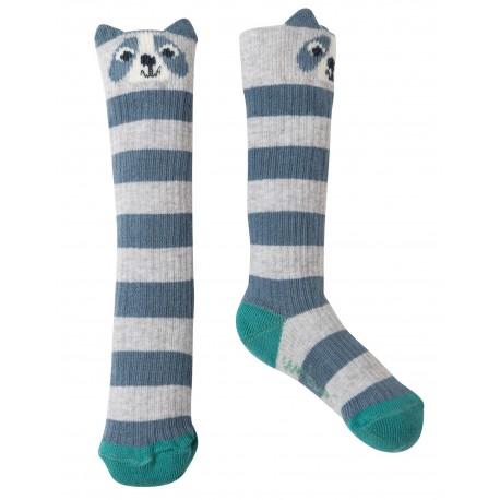 "Chaussettes ""Friendly Face Socks, Grey Marl Raccoon - coton bio"