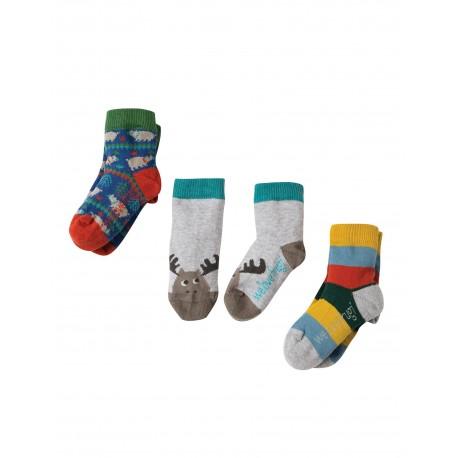 """Assortiment de 3 paires de chaussettes """"Moose Multipack"""" - coton bio"""