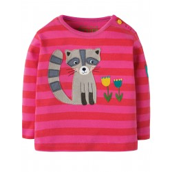 "T-shirt ""Button Applique Top, Geranium Stripe / Raccoon"" - coton bio"