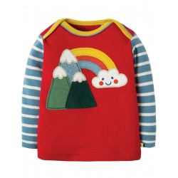 "T-shirt bébé ""Piper Envelope Top, Mars Red / Mountains"" - coton bio"