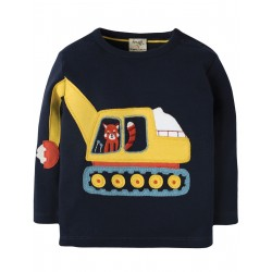 "T-shirt bébé ""Doug Applique Top, Navy / Digger"" - coton bio"