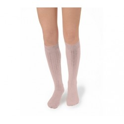 "Chaussettes hautes ""Vieux Rose"" - Made in France"