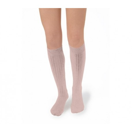 """Chaussettes hautes """"Vieux Rose"""" - Made in France"""