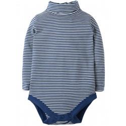 "Body coll roulé ""True Blue Tiny Breton"" - coton bio"