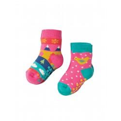 """Assortiment de 2 paires de chaussettes anti-dérapantes """"Bird"""" - coton bio"""