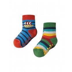 """Assortiment de 2 paires de chaussettes anti-dérapantes """"Viking Boat"""" - coton bio"""