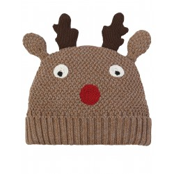 "Bonnet ""Brown, Reindeer"" - coton bio"