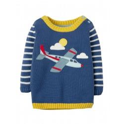 "Pull ""Marine Blue, Plane"" - coton bio"