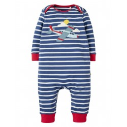 "Pyjama bébé ""Marine Blue Breton, Plane"" - coton bio"