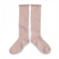 "Chaussettes hautes ""Dentelle"" Vieux rose - Made in France"