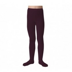 "Collants unis à côtes ""Aubergine"" - Made in France"