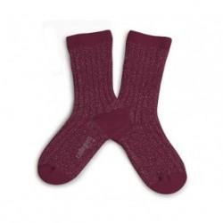 "Chaussettes courtes à côtes lurex ""Marsala"" - made in France"