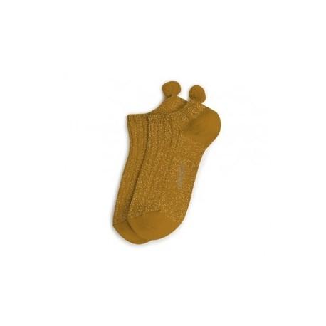 """Chaussettes brillantes très courtes avec pompons """"Moutarde de Dijon"""" - Made in France"""