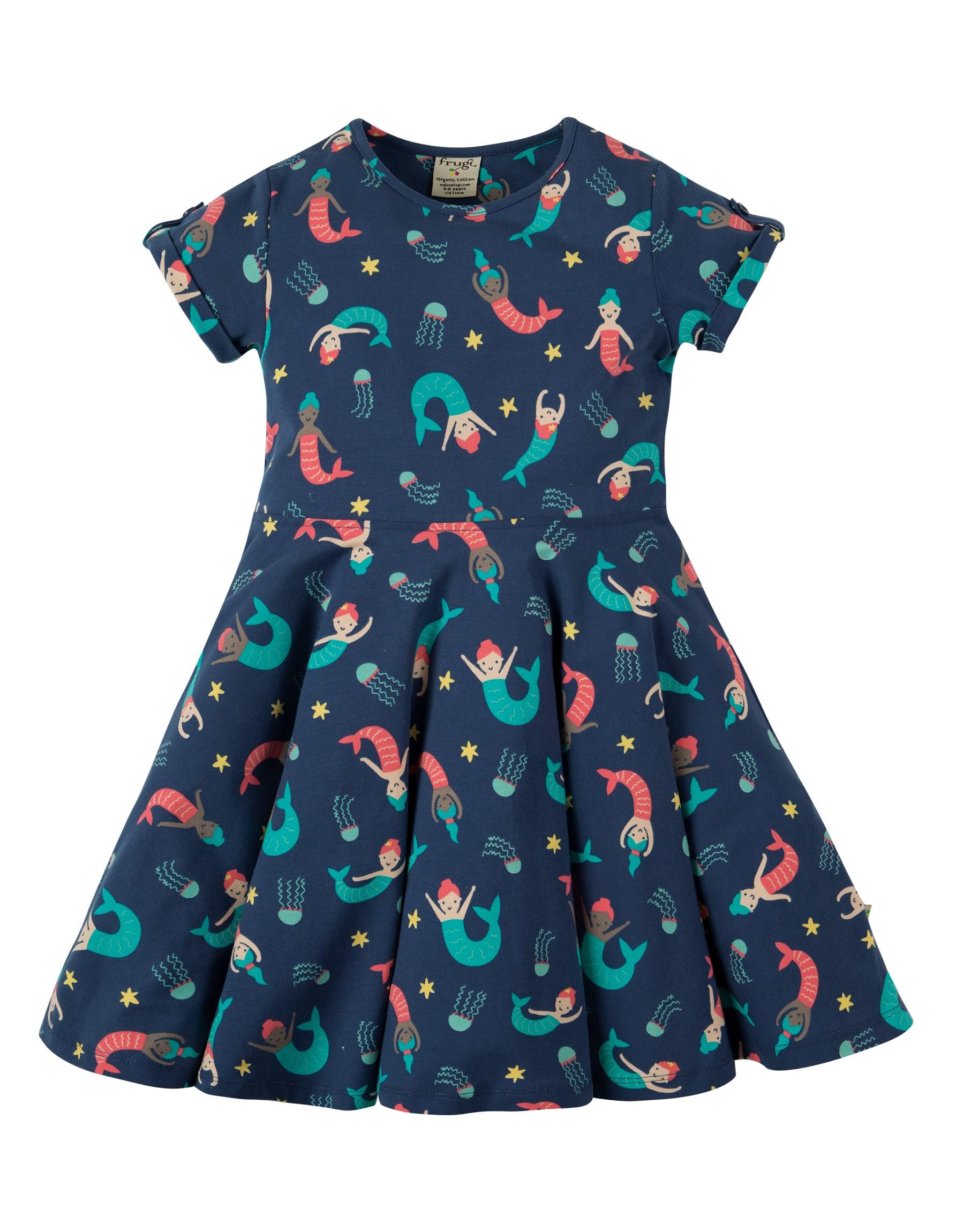 robe spring skater dress marine blue mermaid magic coton bio