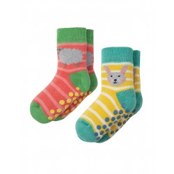 "Assortiment de 2 chaussettes anti-dérapantes ""Grippy Socks 2 Pack, Bunny Multipack"" - coton bio"
