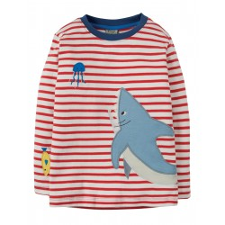 "T-shirt ""Joe Applique Top, Tomato Breton Shark"" - coton bio"