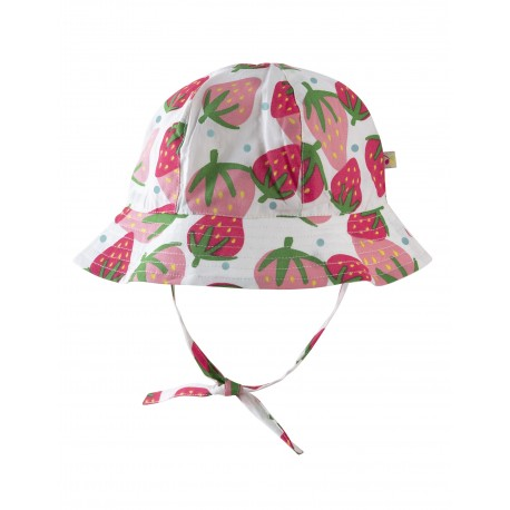 "Chapeau bébé réversible ""Little Ditsy Hat, Scilly Strawberries"" - coton bio"