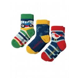 """Chaussettes bébé """"Little Socks 3 Pack, Tractor Multipack"""" - coton bio"""