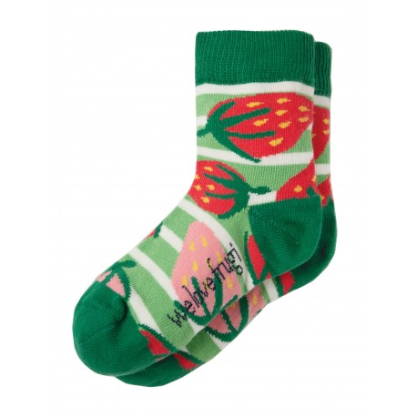 "Chaussettes ""Perfect Pair Socks, Soft Green Stripe, Strawberries"" - coton bio"