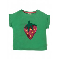 "T-shirt enfant ""Bella Sequin T-shirt, Field Strawberry"" - coton bio"