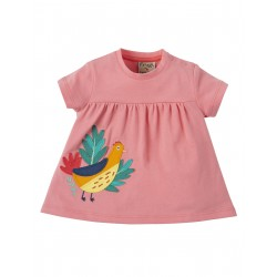 "T-shirt bébé ""Eva Applique Top, Guava Pink, Golden Pheasant"" - coton bio"