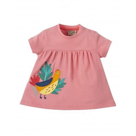 "T-shirt bébé ""Eva Applique Top, Guava Pink, Golden Pheasant"" - coton bio"