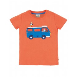 "T-shirt enfant ""Finley Interactive Tee, Warm Orange Campervan"" - coton bio"