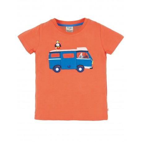 "T-shirt enfant ""Finley Interactive Tee, Warm Orange Campervan"" - coton bio"