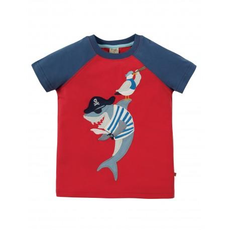 "T-shirt enfant ""Rafe Raglan T-shirt, Tomato Shark"" - coton bio"