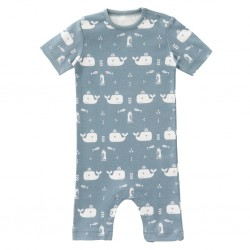 "Pyjama / Summersuit ""Whale blue fog"" - coton bio"