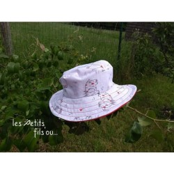 """Chapeau d'été réversible """"Petits éléphants"""""""