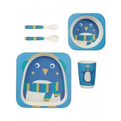"""Set de vaisselle en bamboo """"Bamboo Dinner Set, Penguin"""""""