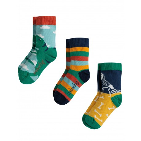 """Chaussettes """"Rock My Socks 3 Pack, Dino Multipack"""" - coton bio"""