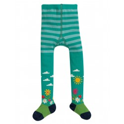 "Collants bébé ""Little Norah Tights, Bright Aqua Flower Garden"" - coton bio"