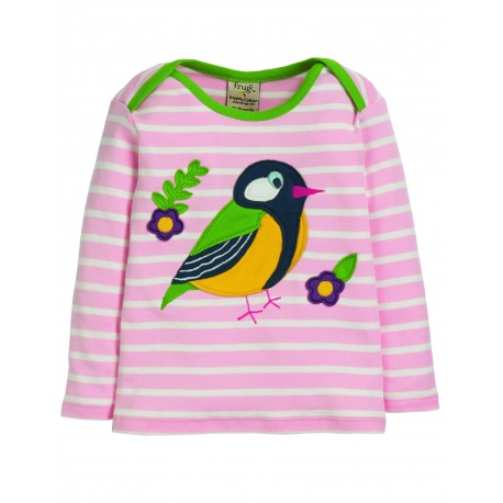 "T-shirt bébé ""Bobby Applique Top, Soft Pink Breton Finch"" - coton bio"
