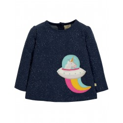 "T-shirt bébé ""Mabel Applique Top, Space Blue Nepp / Unicorn"" - coton bio"